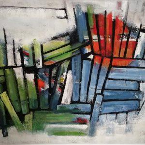 Margret Joch; Titel: Der Schwarm; Größe: 80 x 160 cm; Technik: Acryl auf Leinwand