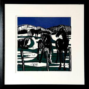 Ilse Menschick-Hartlieb, Pferde I, 67x67 cm, Holzschnitt