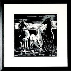 Ilse Menschick-Hartlieb, Pferde II, 40x40 cm, Holzschnitt