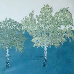Ilse Menschick-Hartlieb, Zwei Birken, 80x80 cm, Acryl auf Leinwand