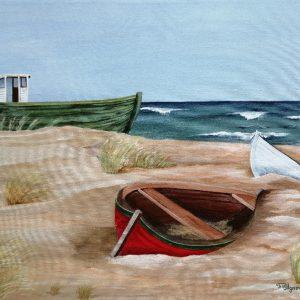 Ursula Illgner, 50x60 cm, Boote, Acryl auf Leinwand