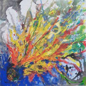 Elisabeth Schwandter, Farbenexplosion, 105x105 cm, Acryl auf Leinwand