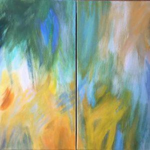 Luzie Pinkas, Farbklänge, 2 teilig je 70x50 cm, Acryl auf Leinwand