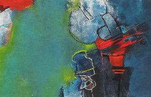 Melanie Joch. O. T., 40x120 cm, Mischtechnik auf Leinwand