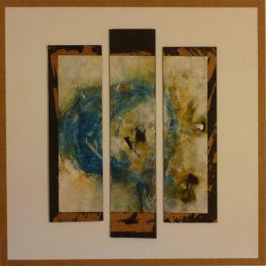 Maria Sandner, Erde mit Virus, 98x98 cm, Mischtechnik auf Karton