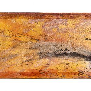 Silvia Steinacher, Transluzenz in Rot, 50x150 cm, Pigmente auf Schleiernessel