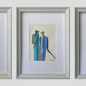 Gerold Sternig, Papier-Collage, 3teilig je12x 17 cm