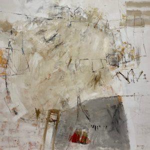 Petra Treffner, Terra Mystica, 100x100 cm gerahmt, Acryl/Zellulose auf Papier